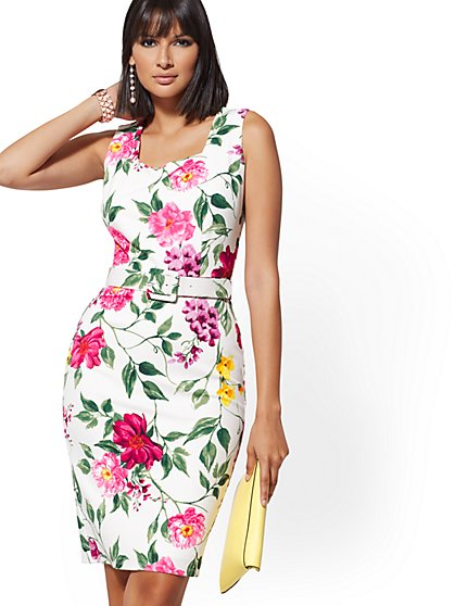White Floral Square-Neck Sheath Dress - Magic Crepe - New York & Company
