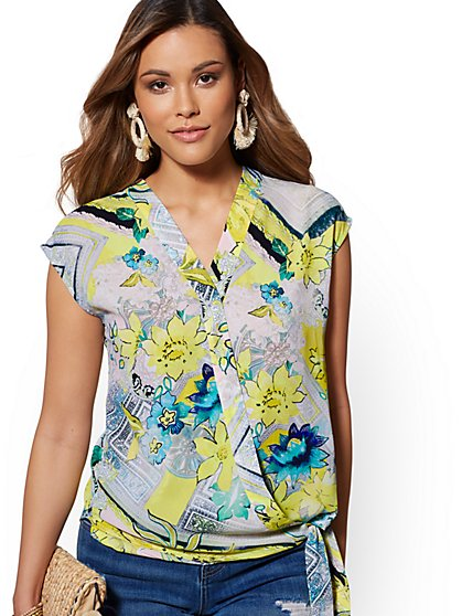 White Floral Tie-Front Wrap Blouse - New York & Company