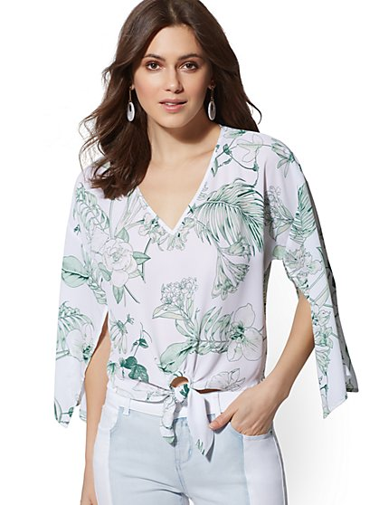 White Floral V-Neck Tie-Front Blouse - New York & Company