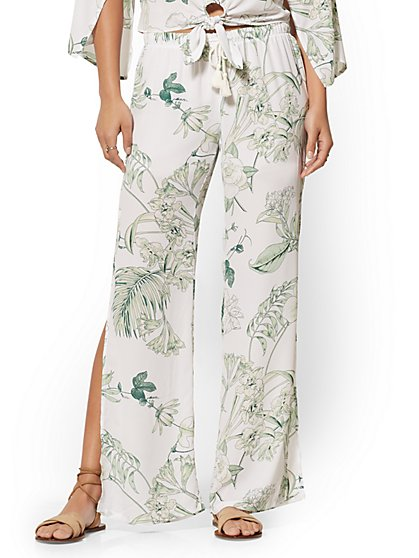 White Floral Wide-Leg Pant - New York & Company
