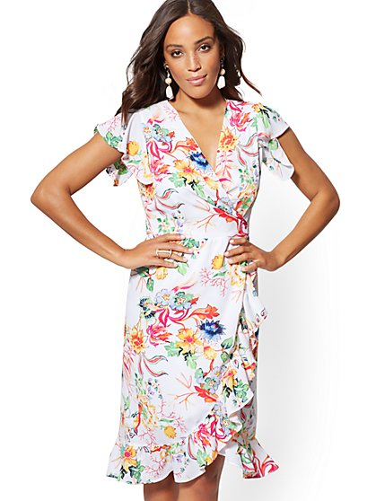 24c53ced7c White Floral Wrap Dress - New York   Company ...