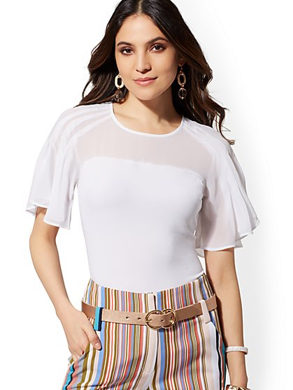 White Flutter-Sleeve Tee - 7th Avenue - New York & Company