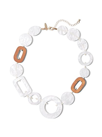 White Geo Link Necklace - New York & Company