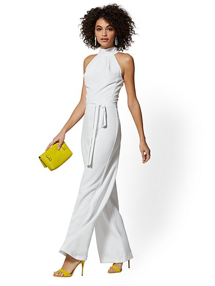 White Halter Jumpsuit - New York & Company