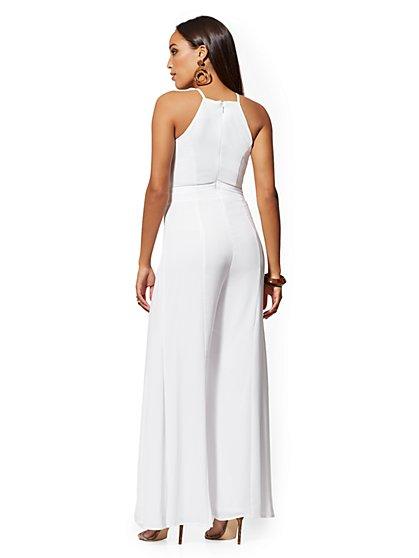 b0a6b63e9f78 ... White Halter Wide-Leg Jumpsuit - New York & Company