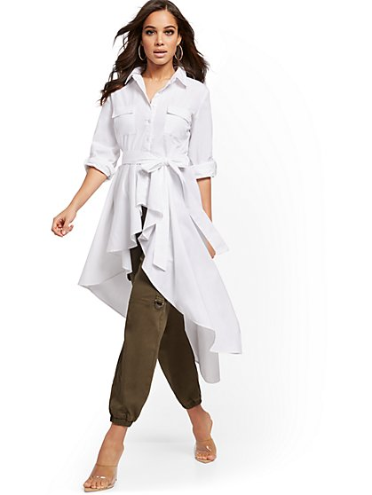 White High-Low Belted Poplin Shirt - New York & Company