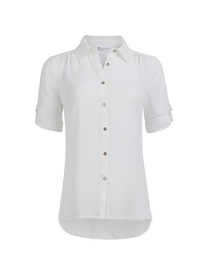 White High-Low Blouse - New York & Company