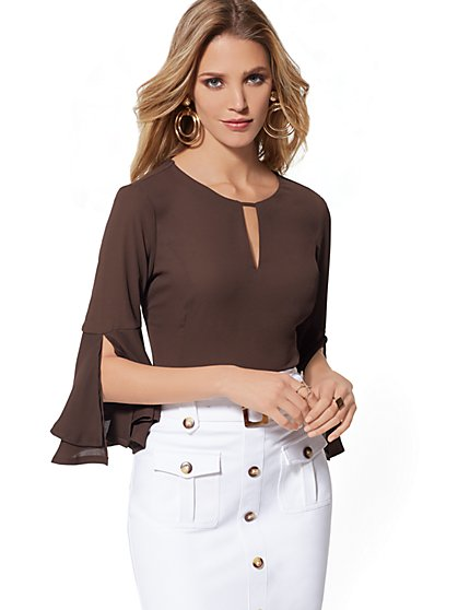 White Keyhole Flounced-Sleeve Blouse - 7th Avenue - New York & Company