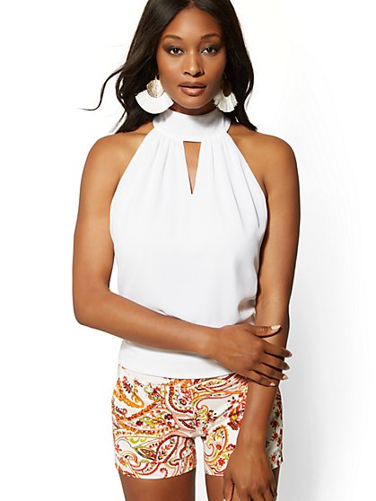 White Keyhole Halter Blouse - 7th Avenue - New York & Company