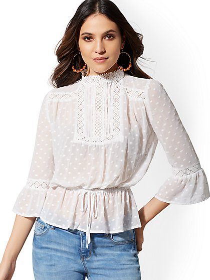 78bf97542a0 White Lace Bib Blouse - Lily   Cali - New York   Company ...