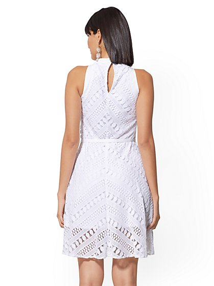 be5fcf9a5a58 ... White Lace Halter Flare Dress - New York   Company ...
