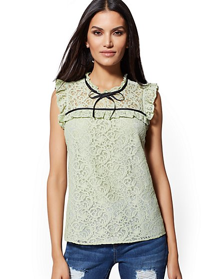 White Lace-Overlay Blouse - New York & Company