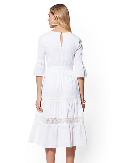 74d0fbbe8f ... White Lace-Trim Flare Dress - New York   Company