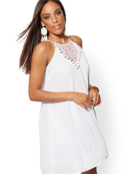 White Lace-Trim Halter Shift Dress - New York & Company