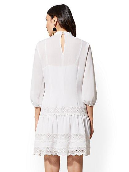 334c1d12b4 ... White Lace-Trim Shift Dress - Lily   Cali - New York   Company