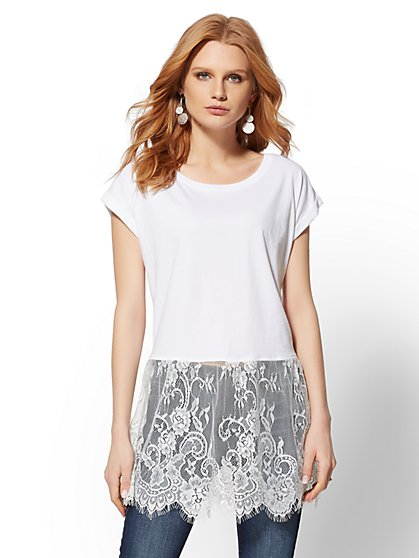 White Lace-Trim Tee - New York & Company