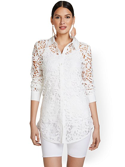 White Lacey Modern Madison Tunic Shirt - 7th Avenue - New York & Company