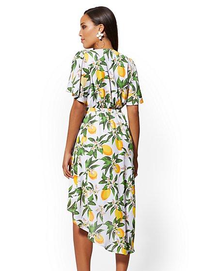892745dd8b9 ... White Lemon-Print Hi-Lo Wrap Dress - New York   Company ...