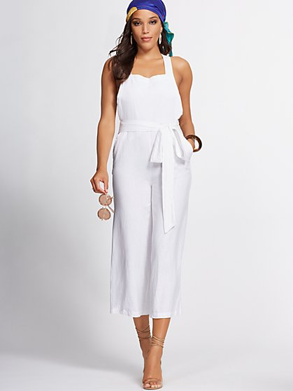 White Linen-Blend Culotte Jumpsuit - Gabrielle Union Collection - New York & Company