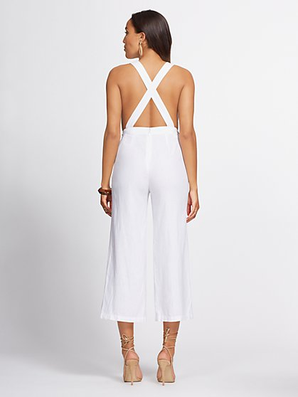 dfdbf1bf22 ... White Linen-Blend Culotte Jumpsuit - Gabrielle Union Collection - New  York & Company ...
