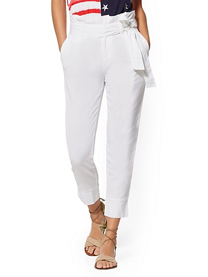White Linen Paperbag-Waist Pant - New York & Company