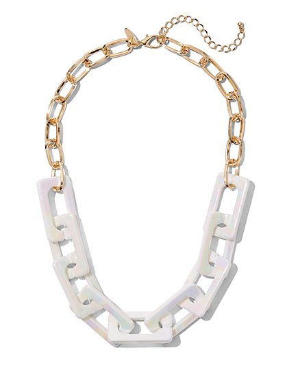 White Link Statement Necklace - New York & Company