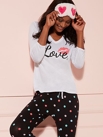 "White ""Love"" & Lipstick Print Sleep Tee - New York & Company"