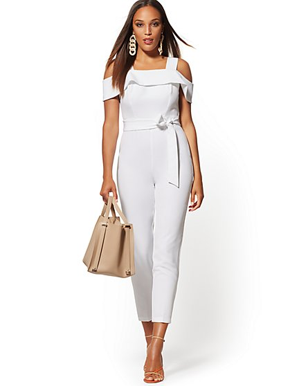White Madie Cold-Shoulder Jumpsuit - New York & Company