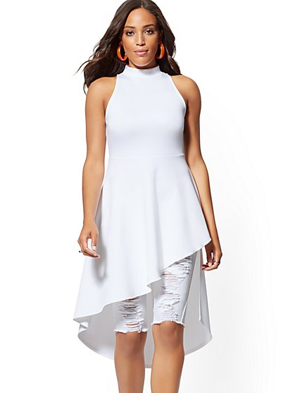 White Mock-Neck Hi-Lo Tunic Top - New York & Company