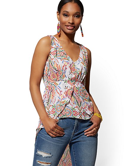 White Multicolor-Print Hi-Lo Blouse - New York & Company