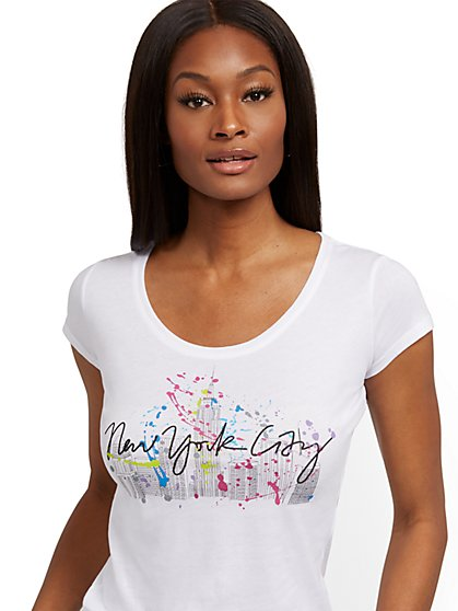"White ""New York City"" Graphic Tee - New York & Company"