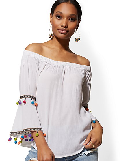 White Off-The-Shoulder Bell-Sleeve Blouse - New York & Company