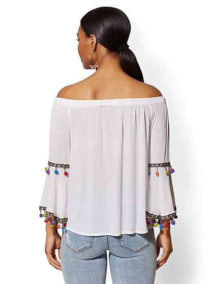 22d60d56a8b ... White Off-The-Shoulder Bell-Sleeve Blouse - New York   Company