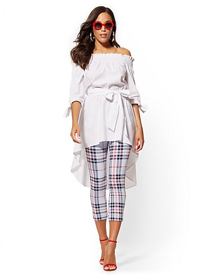 White Off-The-Shoulder Hi-Lo Poplin Shirt - New York & Company