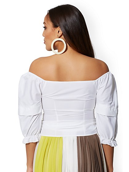 ... White Off-The-Shoulder Tie-Front Poplin Shirt - New York   Company 253d84c00