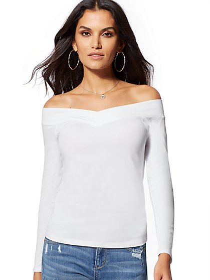White Off-The-Shoulder Top - New York & Company