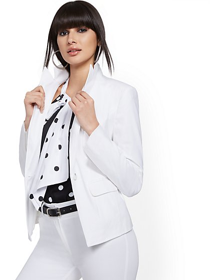 White One-Button Jacket - Linen Blend - 7th Avenue - New York & Company