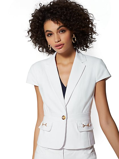 White One-Button Short-Sleeve Jacket - All-Season Stretch - 7th Avenue - New York & Company