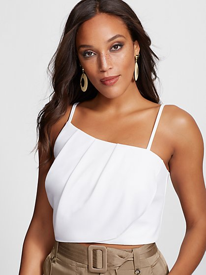 White One-Shoulder Crop Blouse - Gabrielle Union Collection - New York & Company