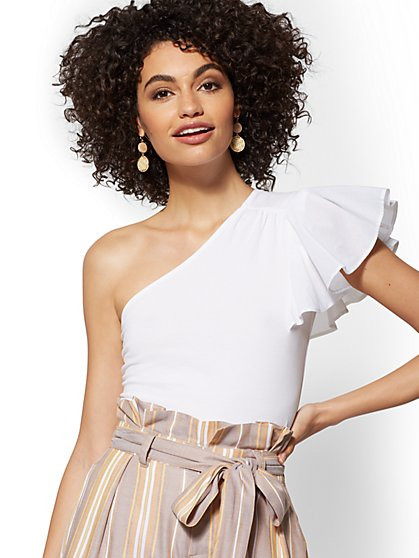 White One-Shoulder Flounce-Sleeve Top - New York & Company