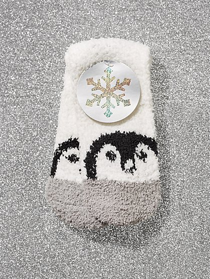 White Penguin-Print Cozy Socks - New York & Company