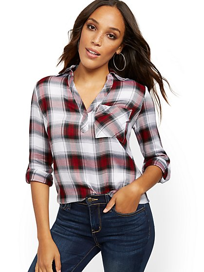 White Plaid Button-Back Shirt - Soho Soft Blouse - New York & Company