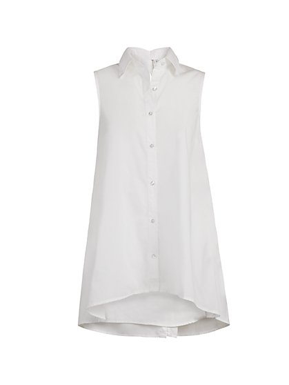 White Poplin Bow-Back Shirt - New York & Company