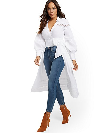 White Poplin Maxi Shirt - New York & Company