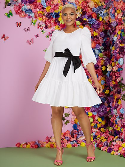 White Poplin Puff-Sleeve Tier Dress - New York & Company