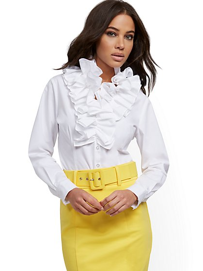White Poplin Ruffled Shirt - New York & Company