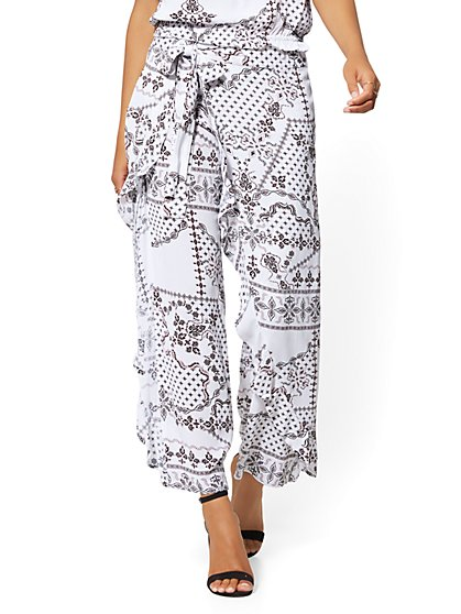 White Print Ruffled Tie-Front Soft Pant - New York & Company