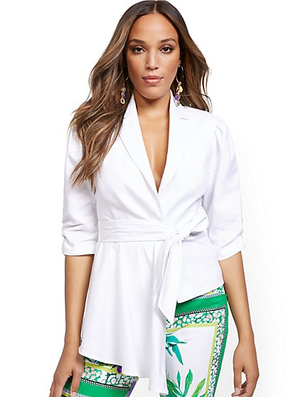 White Puff-Sleeve Draped Jacket - New York & Company