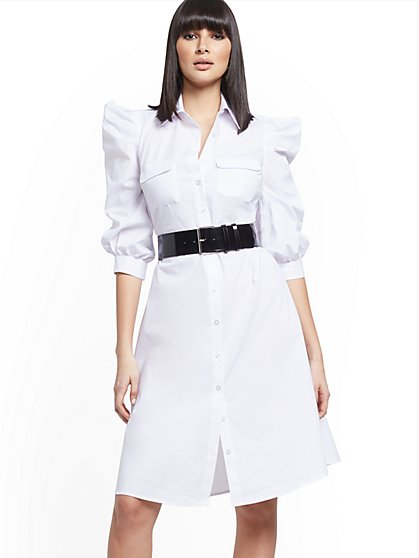 White Puff-Sleeve Poplin Belted Shirtdress - New York & Company