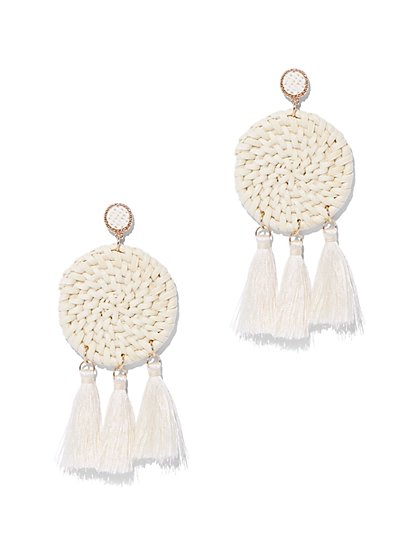 White Raffia Tassel Drop Earring - New York & Company